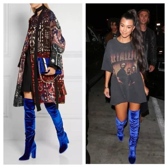 0a8c90e15a4e Aquazzura Shoes | Blue Velvet Thigh High Over Knee Boots | Poshmark